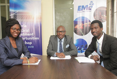 From left Miss Blessing Nwosu, Energy Events Coordinator, Energy Mix Limited; Mr. Noma Olushola Garrick, CEO & Founder, Energy Mix Limited; Mr. Julius Adedoyin, Business Development, Energy Mix Limited at the press conference